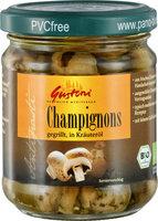 Champignons gegrillt, in Kräuteröl