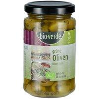 Grüne Oliven ohne Stein mit frischen Kräutern in Öl-Marinade