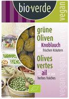 Grüne Oliven mit Knoblauch 150g